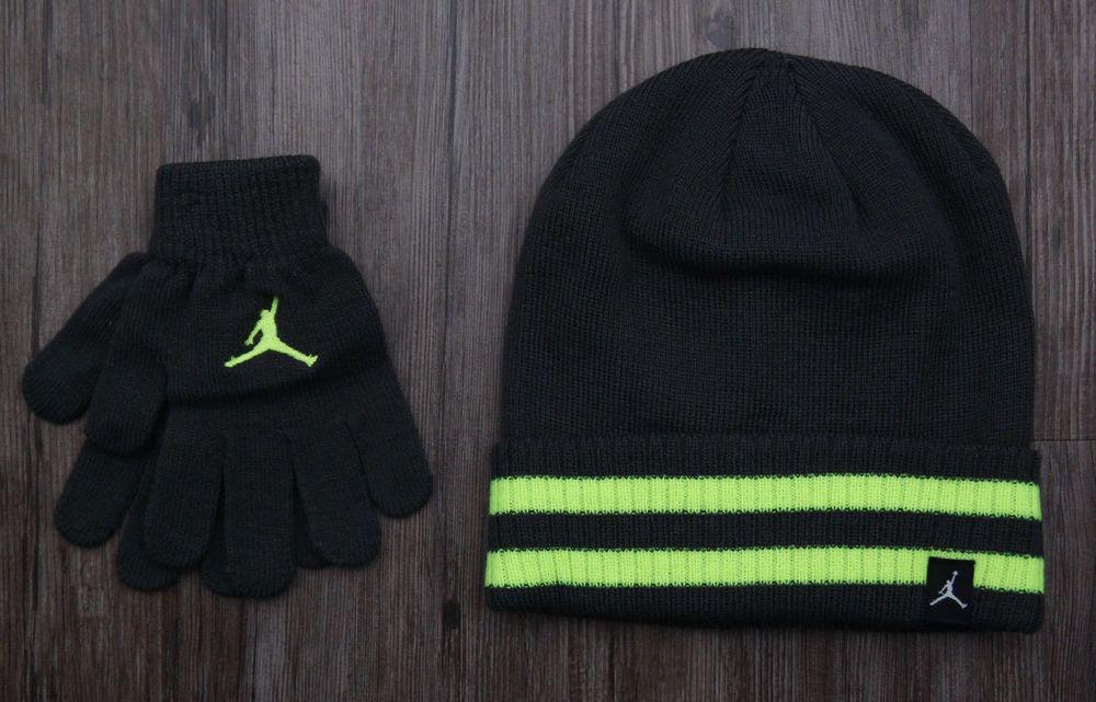 b42a3bcbfa8d55 Air Jordan Boy Hat Beanie   Gloves Set ~ Charcoal Gray   Volt ~ Size 8 20 ~   Jordan  Beanie   Boy  Gloves  Jumpman