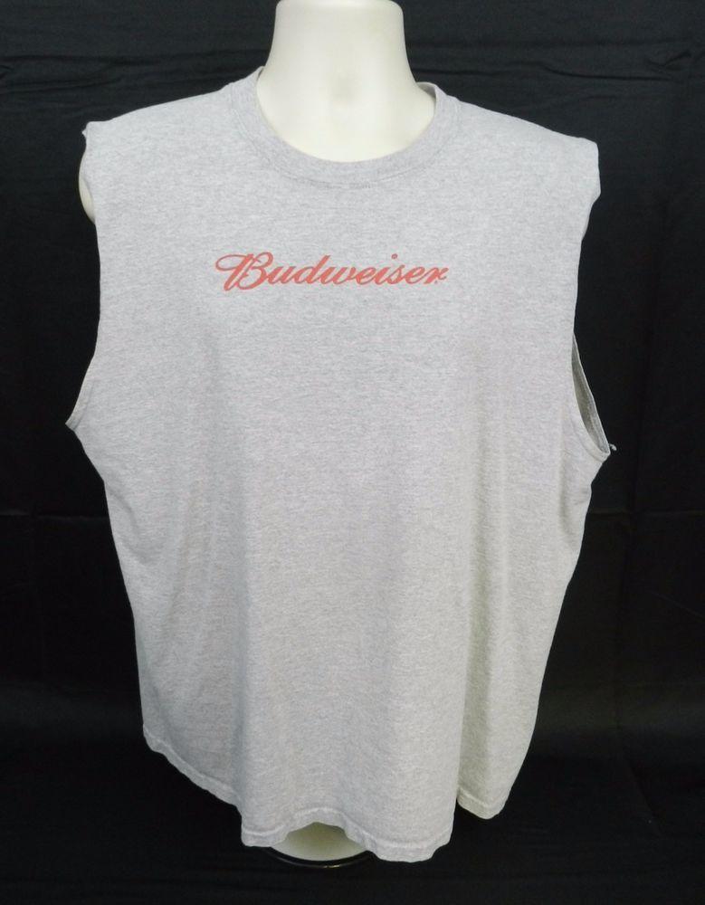 Budweiser Classic Gray Sleeveless Tee Shirt Gildan Sz XL               (Stk#A40) #Gildan #CrewNeck