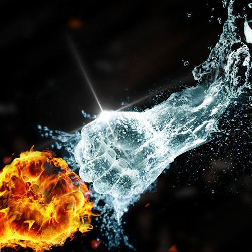 Создаем в Фотошоп коллаж «Вода против огня»