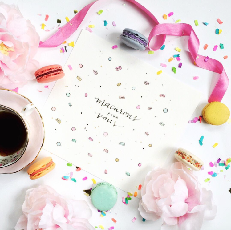 #ConfettiCourier monthly mail swap for calligraphers and creatives. Artwork by @cafcaf_ Photo by @mes2petitesetoiles
