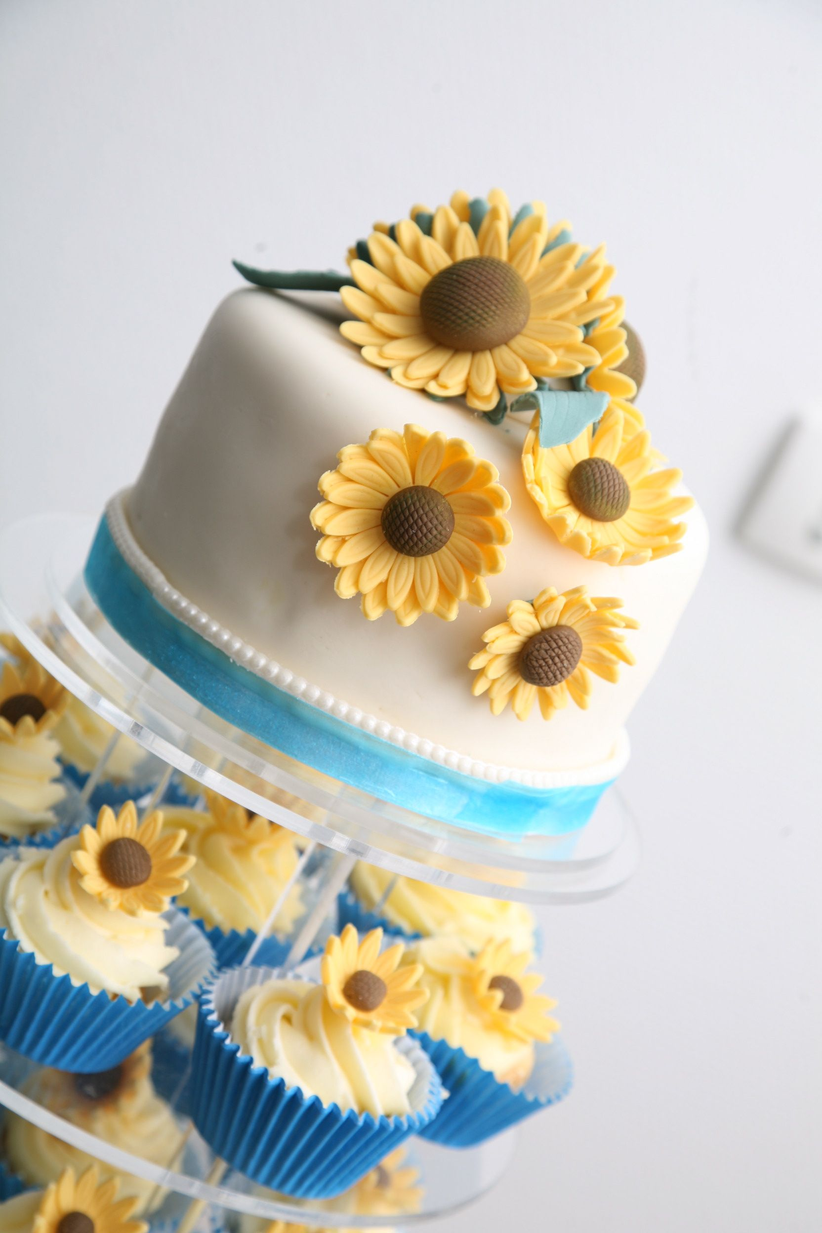 wedding cake, sunflowers......wow. LOVE this one for sure. Looks ...