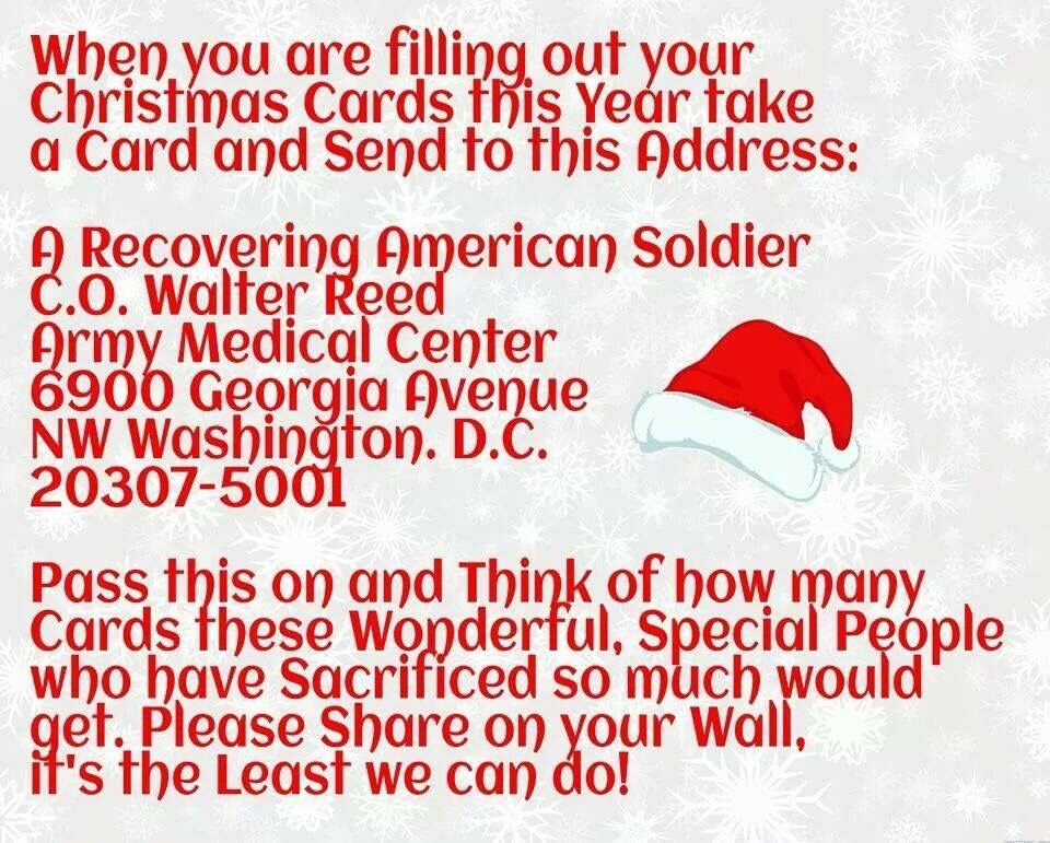 Send a holiday card to a recovering soldier. Great writing project ...