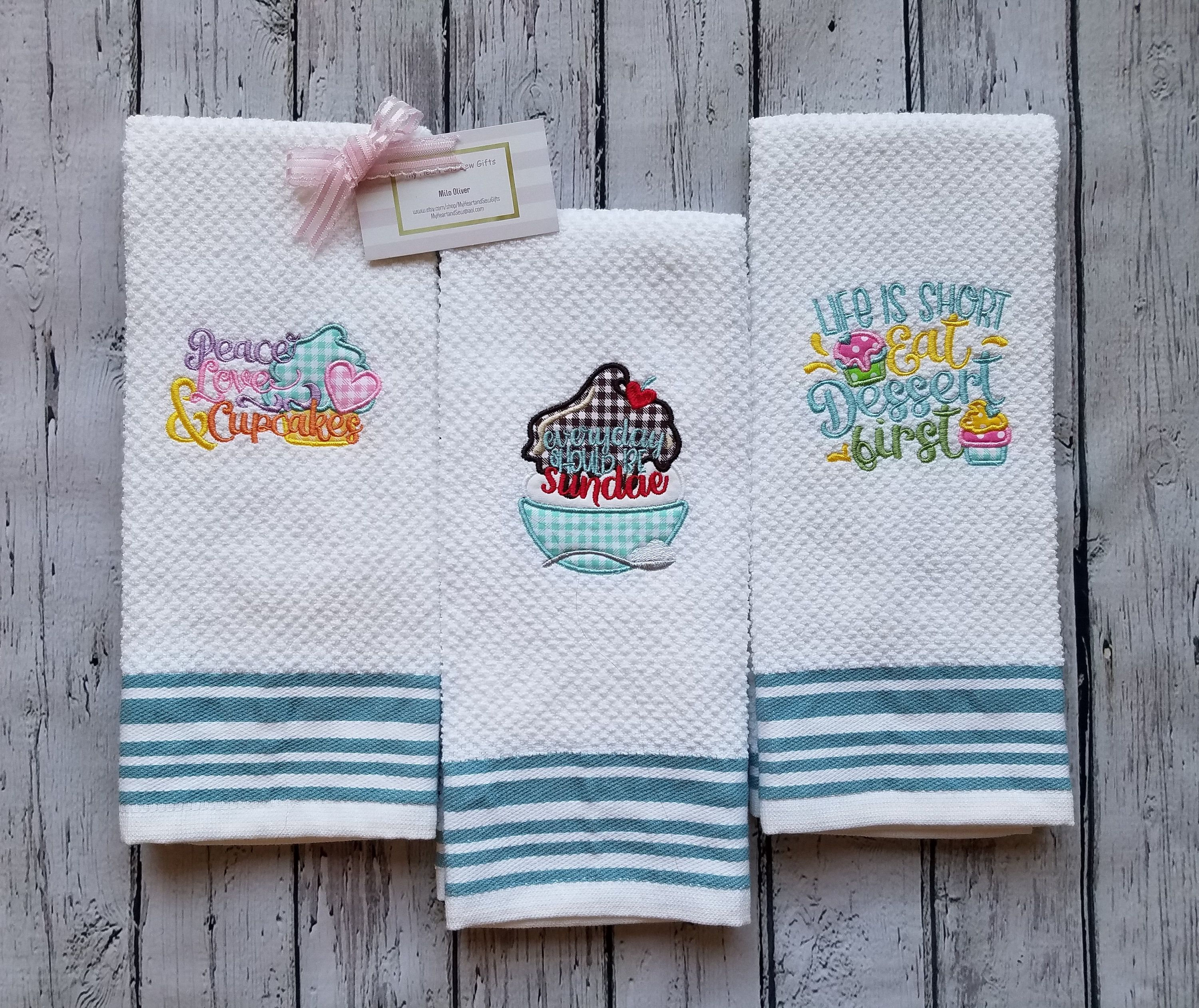Teal Striped Kitchen Towels With Funny Dessert Sayings Etsy Etsy Personalized Key Fob Teal
