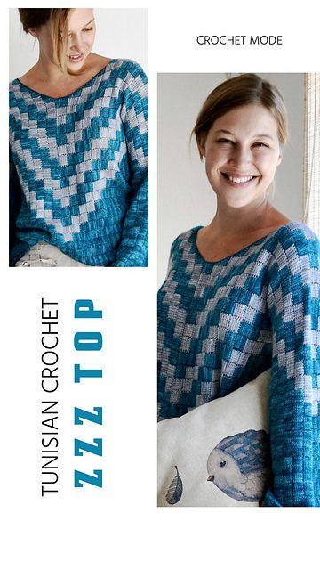 Zzz Top pattern by Elena Fedotova   Tunesisch, Tunesisch häkeln und ...