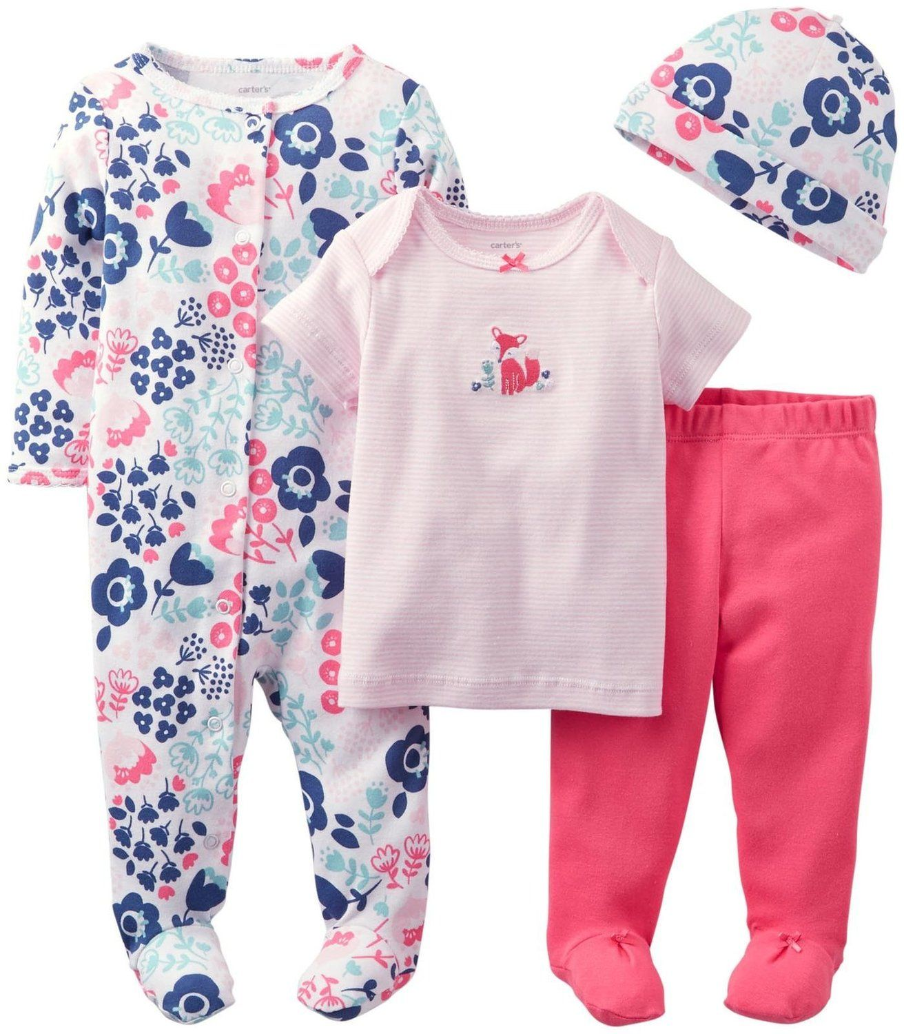 e80fae69bd32 Amazon.com  Carter s Baby Girls  4 Piece Layette Set (Baby) - Coral ...