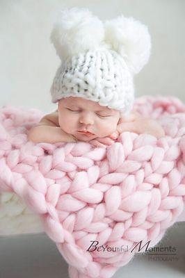Pink Baby Blanket Merino Wool Newborn Photography Prop Baby Posing UK