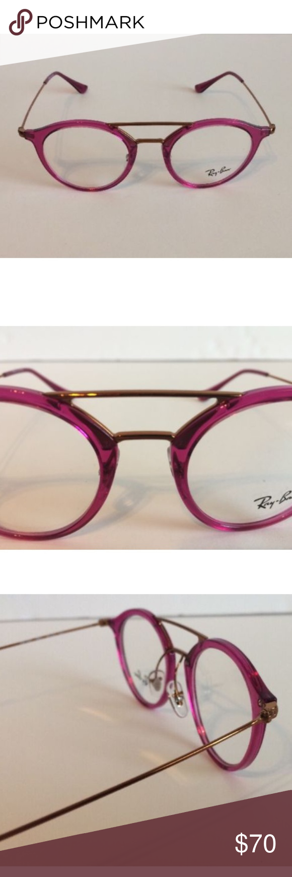 cf60c721e7 Ray-Ban Pink Fuschia Round Eyeglasses RB 7097 5631 NEW AUTHENTIC Ray-Ban RB