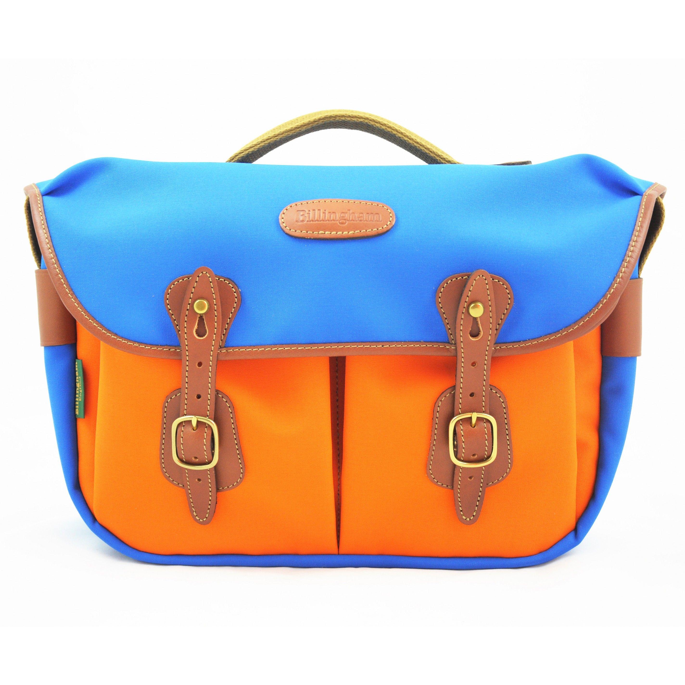 Billingham Hadley Pro Electric Blue Orange X Pedlars Shoulder Bag Khaki Chocolate Leather Bags