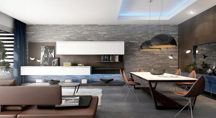 Wohnzimmer Einrichten Beispiele Ziegelwand Wohnwand Esstisch Pendelleuchten