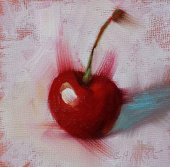 Pequeña pintura al óleo originales rojo por CynthiaHaaseFineArt ...