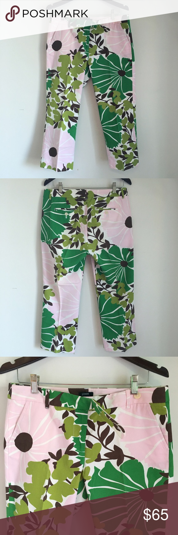 J crew cropped graphic floral print trousers EUC eye catching and rare vintage print. Great for any Lilly Pulitzer or Kate Spade lover in addition to J Crew collectors. Not factory. J. Crew Pants Ankle & Cropped