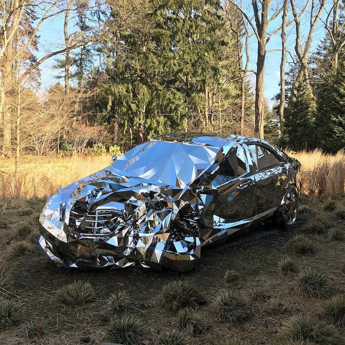 A Wrecked Luxury Car Built From Over 12 000 Reflective Steel Parts Mercedes Benz S550 Car Luxury Cars