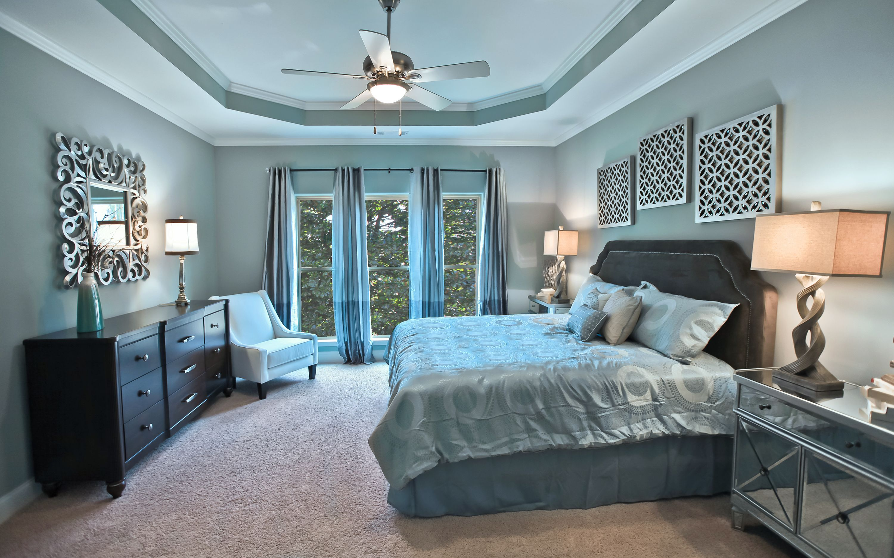 the beautifully decorated master bedroom inside the model home at bakers farm gives new meaning to - Model Home Interior Design