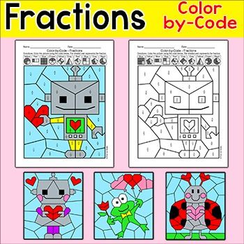 Valentine\'s Day Math Color by Fractions Activity: Robots, Ladybug ...