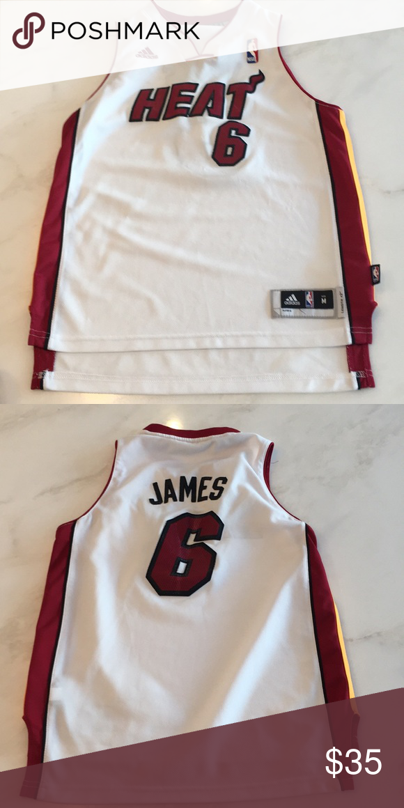 2aaab7a8bec Adidas Lebron James Miami Heat Boys Jersey Lebron James White jersey from  the Miami Heat.
