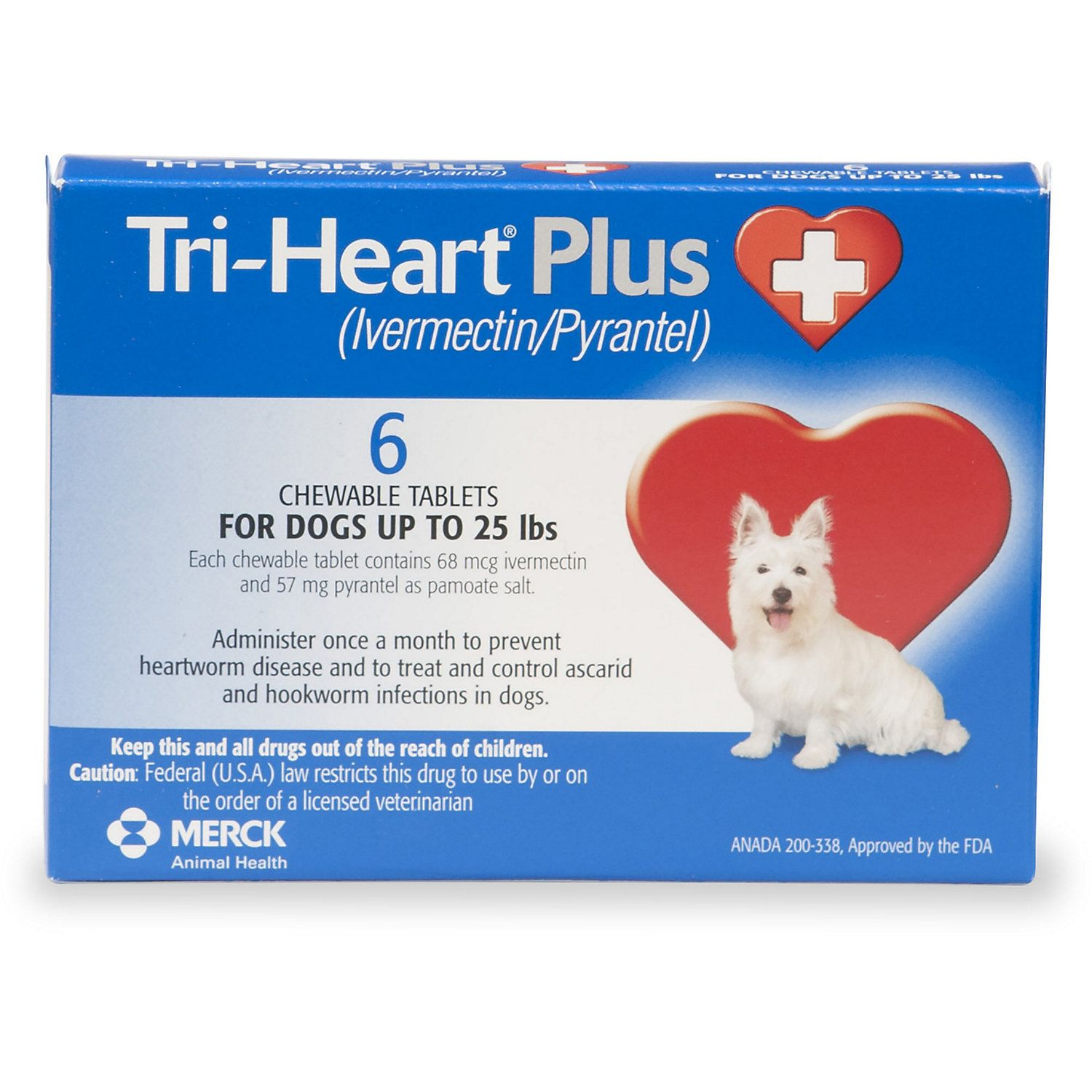 Tri Heart Plus Chewable Tablets For Dogs 1 To 25 Lbs 6 Pack