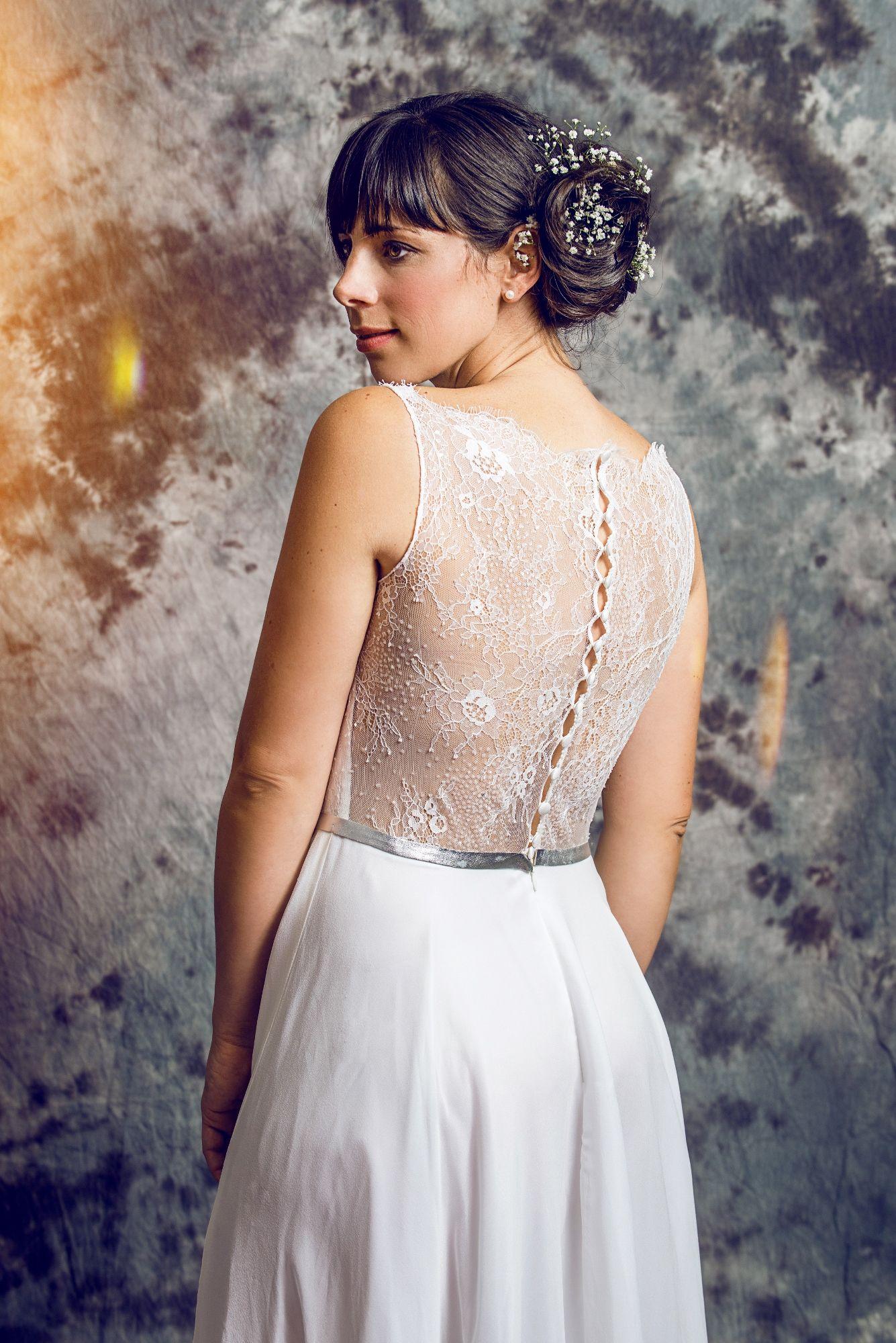 Brautkleid EMMA im Rücken ungefüttert schlichtes, elegantes ...