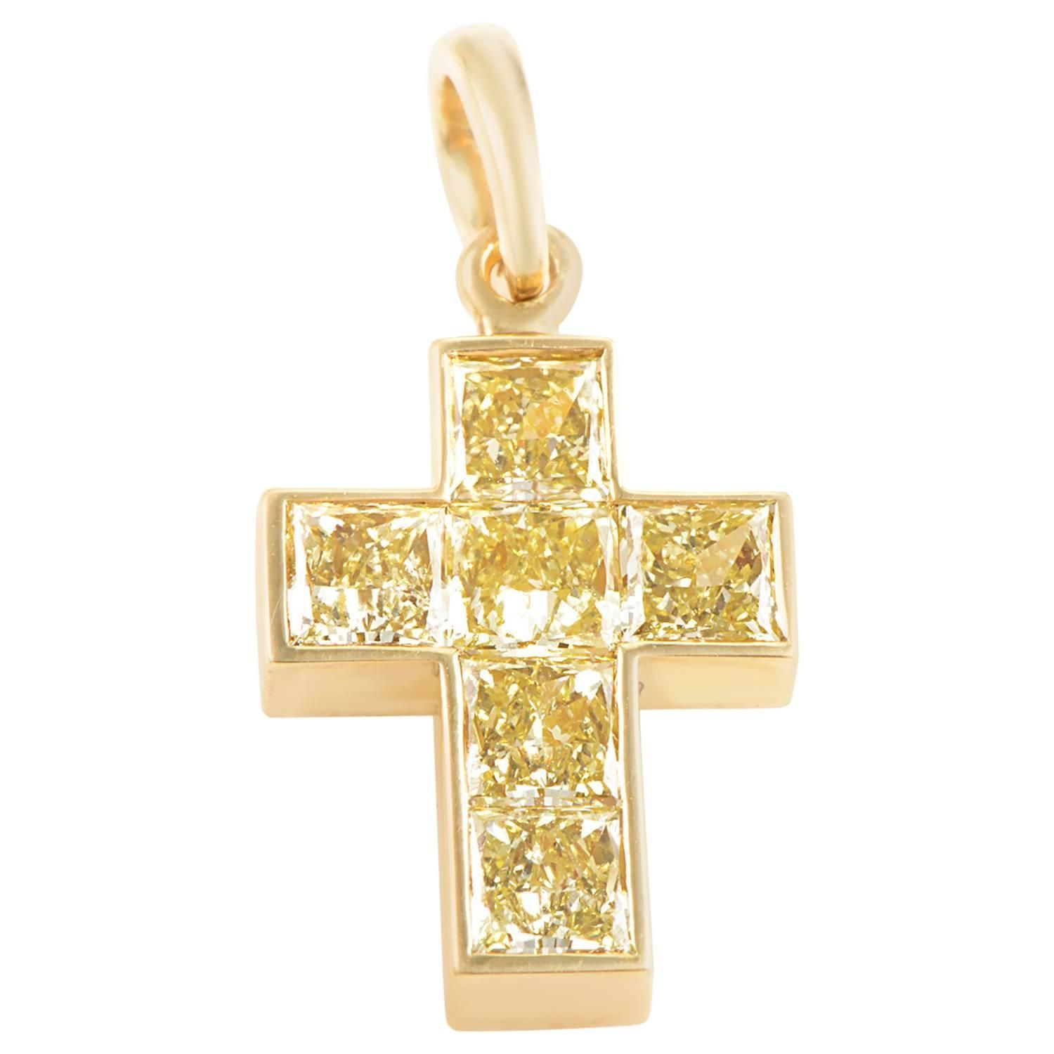 Cartier Fancy Yellow Diamond Gold Cross Pendant