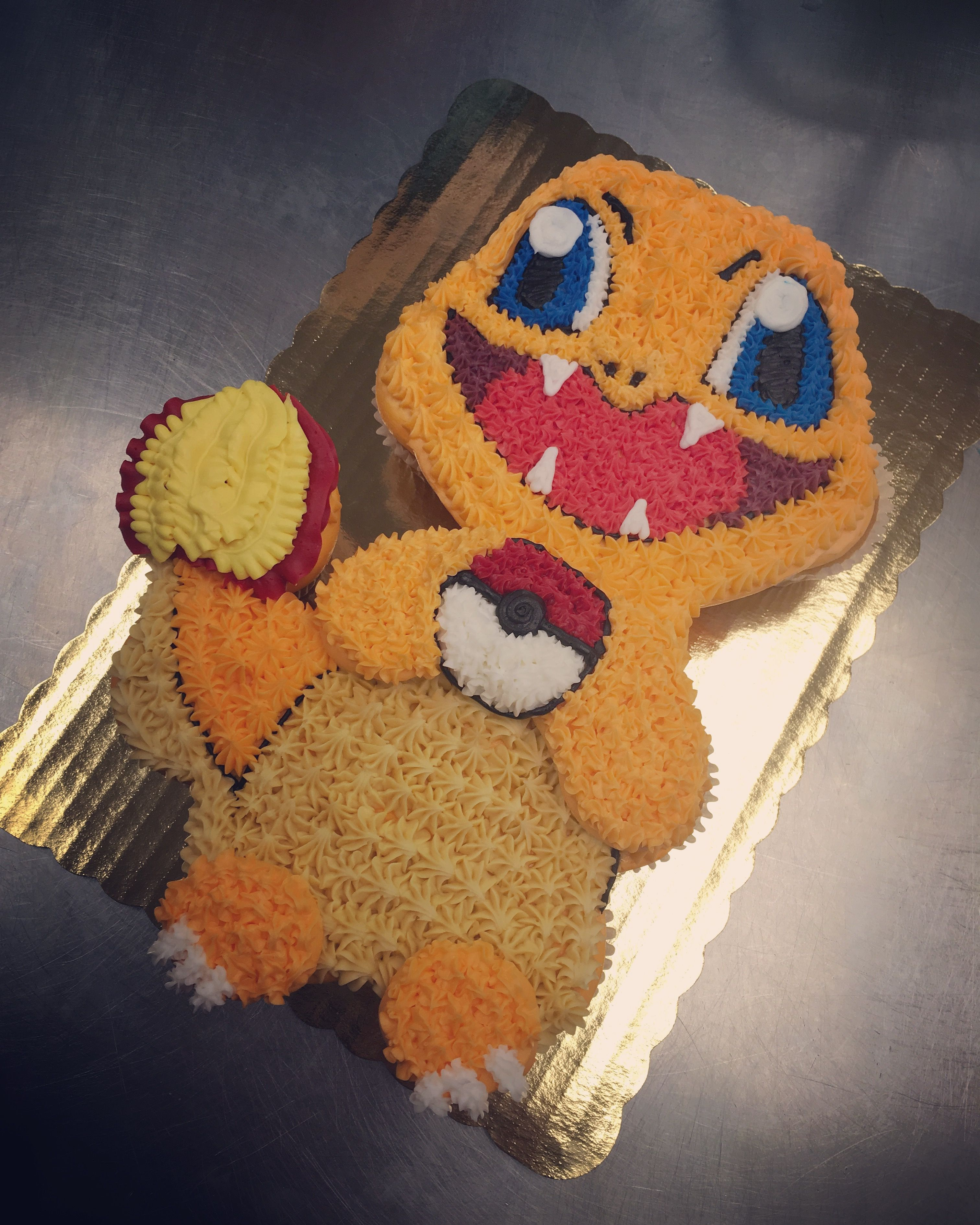 Swell Charmander Cupcake Cake Pokemon Birthday Cake Pokemon Birthday Funny Birthday Cards Online Alyptdamsfinfo