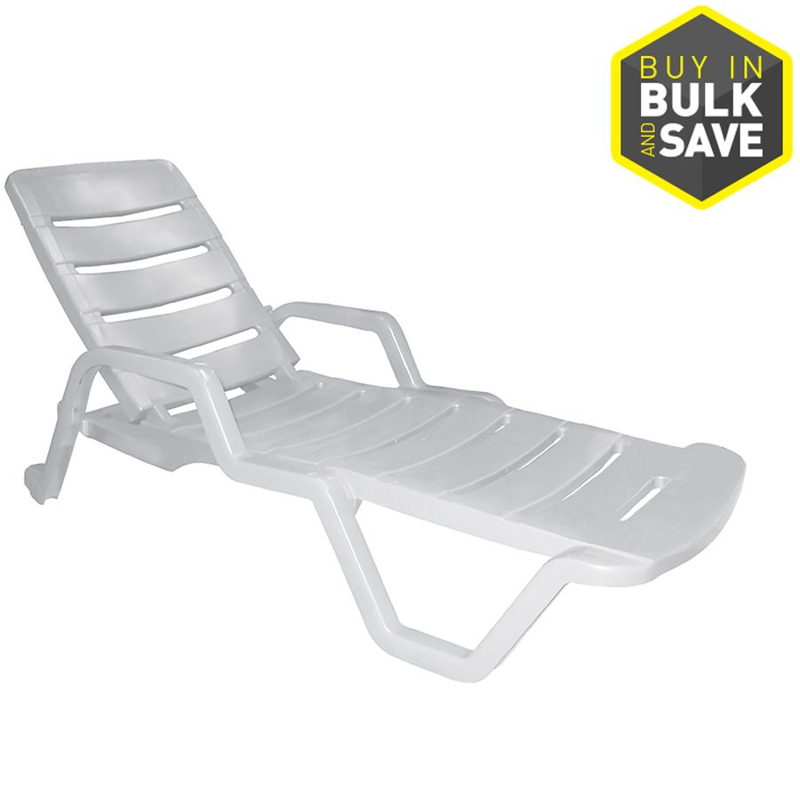 Adams Mfg Corp White Resin Stackable Patio Chaise Lounge