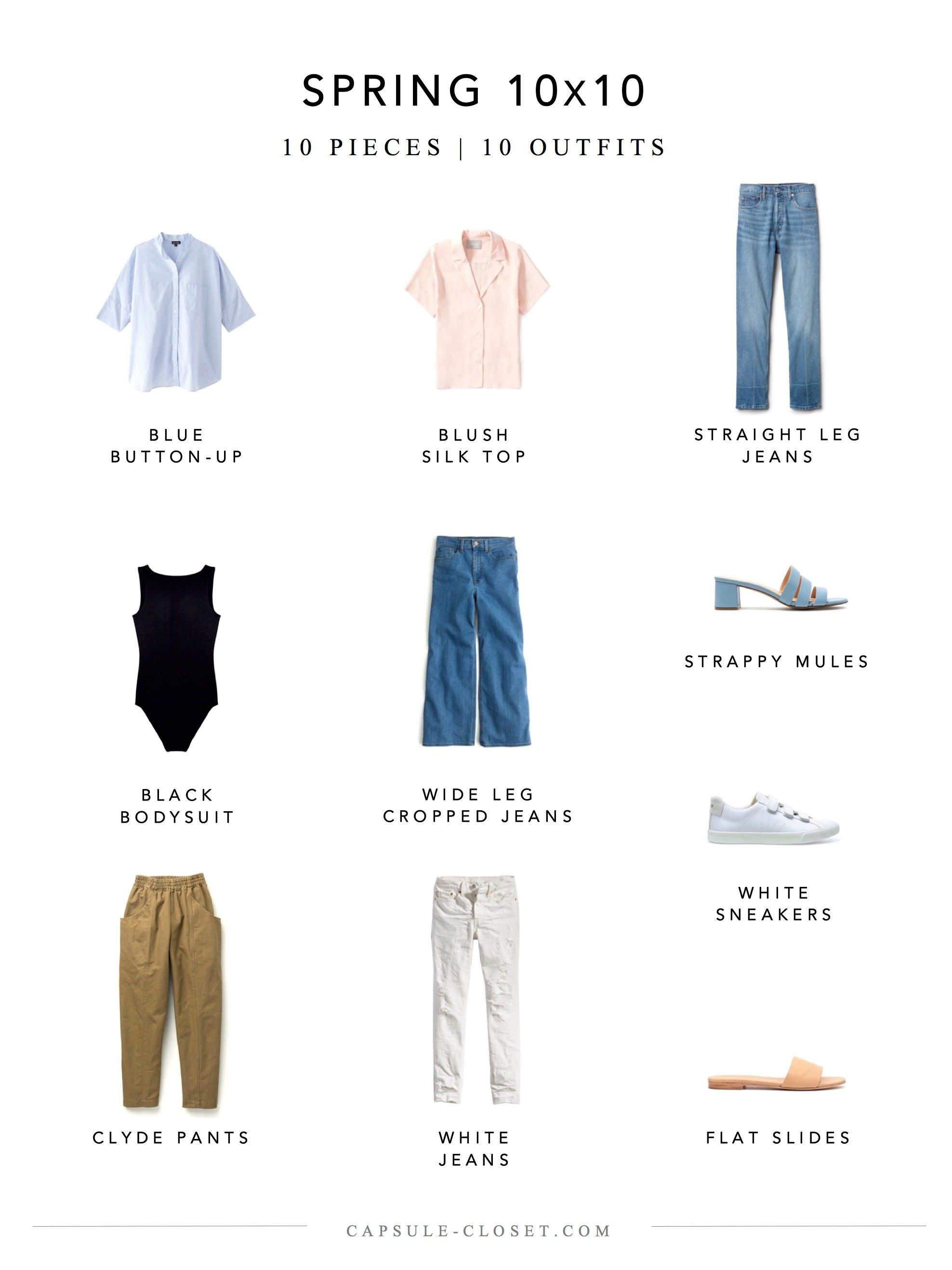 A Denim Centric Spring 10 10 Pieces Capsule Wardrobe Mom Capsule Wardrobe Women Capsule Wardrobe