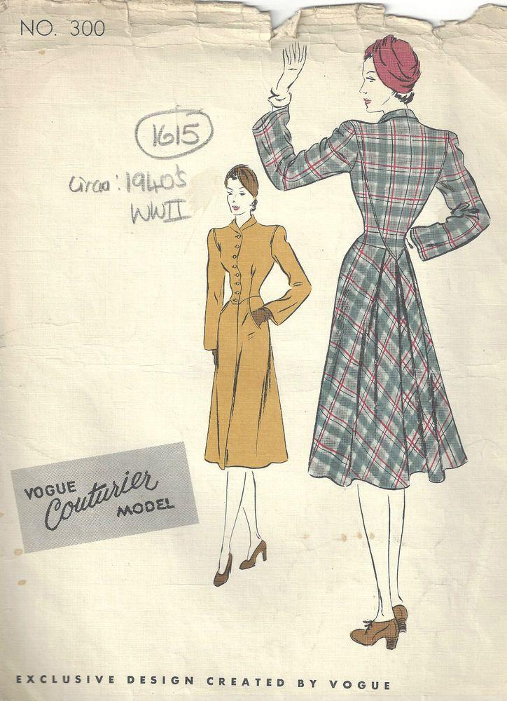 1940s WW2 Vintage VOGUE Sewing Pattern B34 COAT (1615)