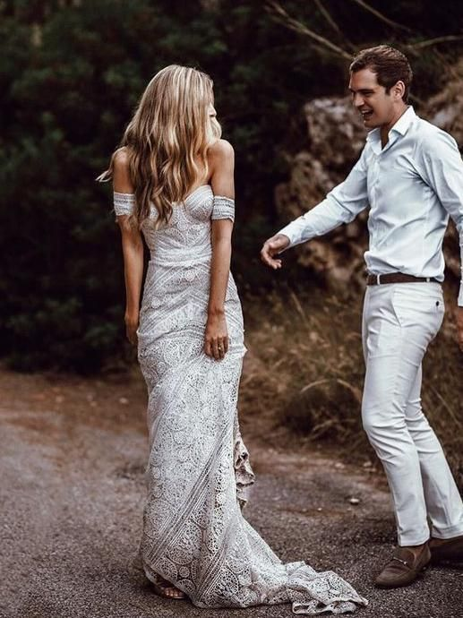 3b0806d771 Ivory Lace Beach Wedding Dresses Off the Shoulder Summer Beach Wedding  Dresses AWD1156