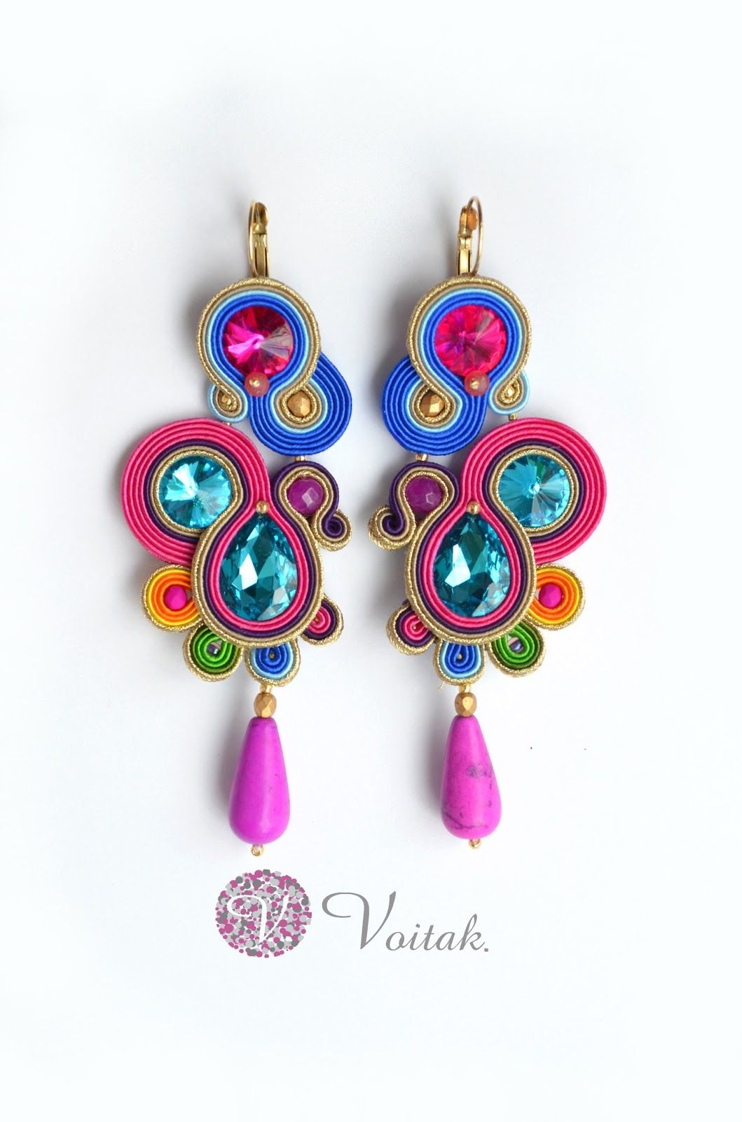 Soutache Jewelry. Artystyczna Biżuteria Autorska Katarzyna Wojtak: #0084 Kolczyki i #0085 bransoletka. Rio d'Ana. Komplet Sutasz.