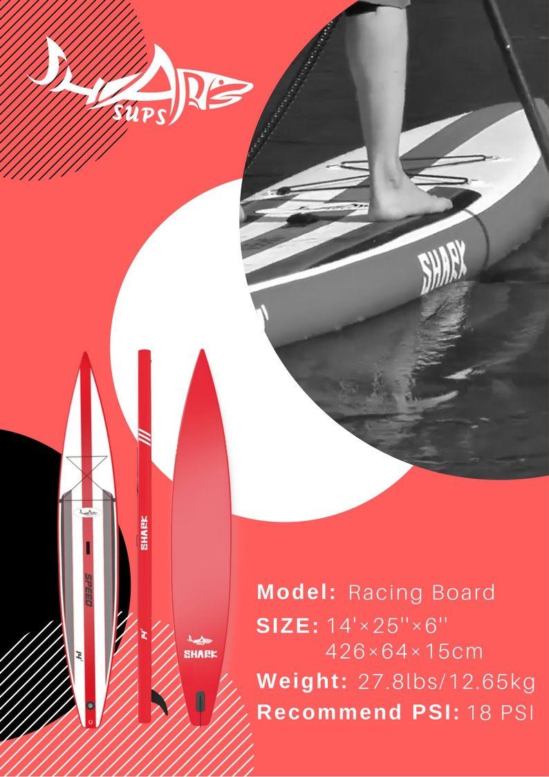 14' Racing Board   Shark SUPs advertisement materials   Inflatable