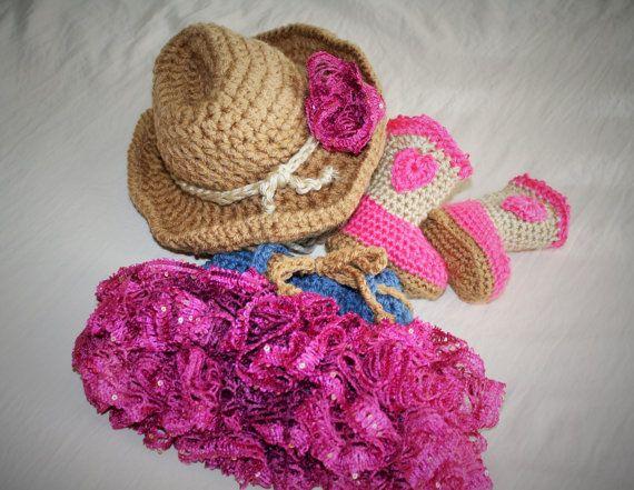 Bambino cappello Cowgirl balza gonna e stivali di JojosBootique