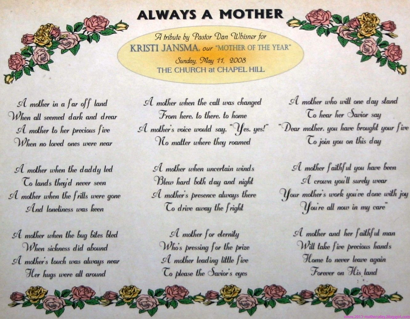 poems from son to mother on mother s day