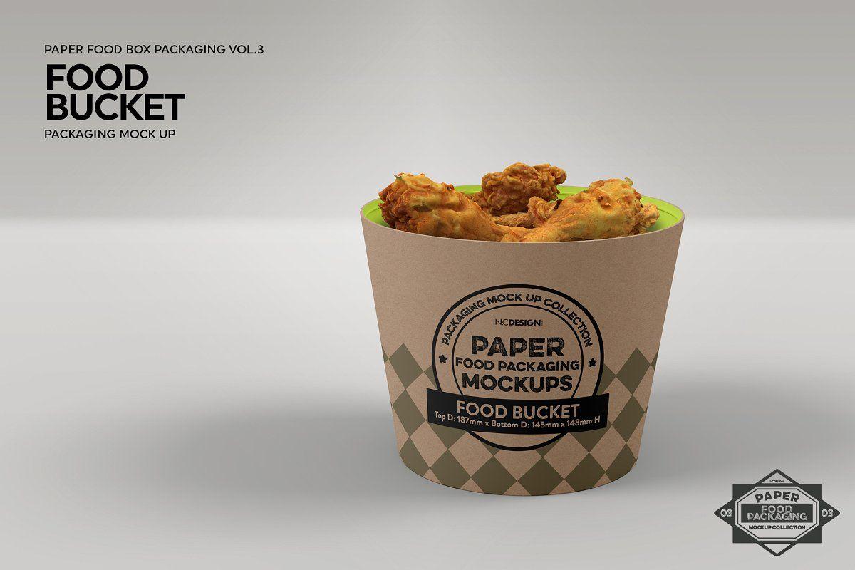 Paper Food Bucket Packaging Mockup Food Food Packaging Food Mockup