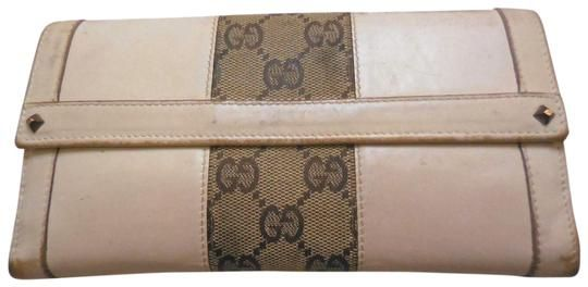 13d9a26cfe8 Gucci White Leather with Chrome Accents And Large G Logo Print Canvas  Wallet - Tradesy