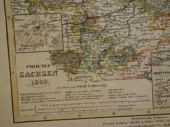 SAXONY old map of Sachsen Germany 1849 original antique print of