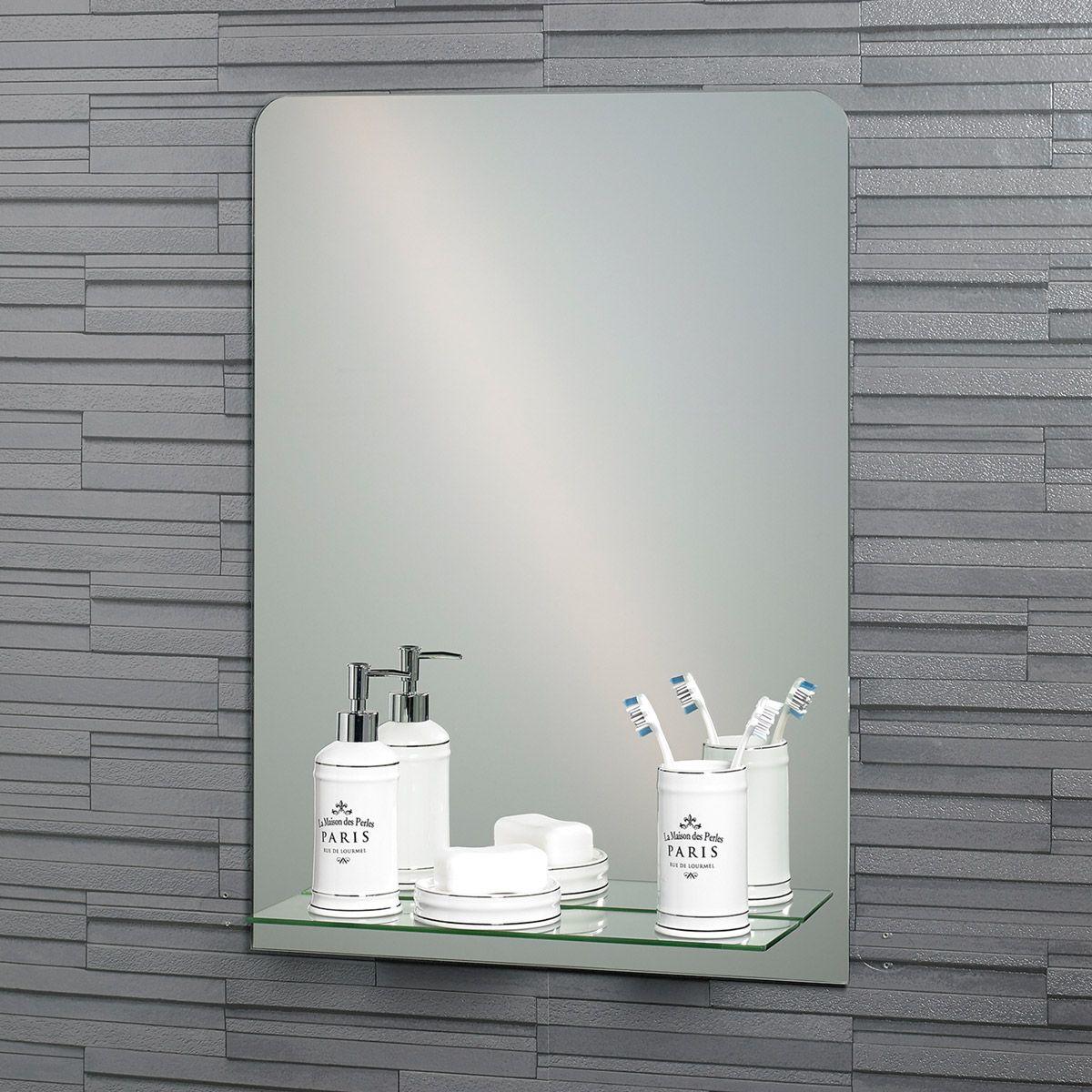 Accents rochester rectangular mirror with vanity shelf