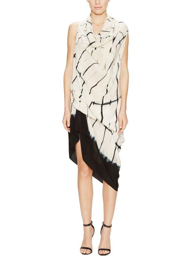 Grid Print Silk Drape Dress  from Designer Dresses Under $500 on Gilt