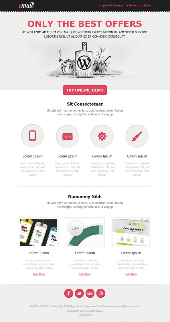 Clean Html Email Template #email #newsletter #free | Email ...