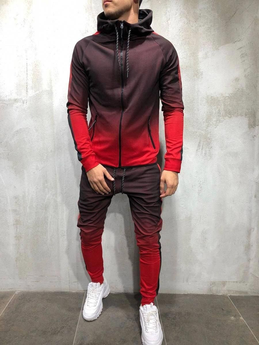 New Mens Slim Fit Contemporary Distressed Ripped Design Crew Neck Tracksuit Set