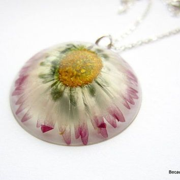Real flower necklace resin necklace pressed flower pendant real flower necklace resin necklace pressed flower pendant daisy necklace purple daisy mozeypictures Images
