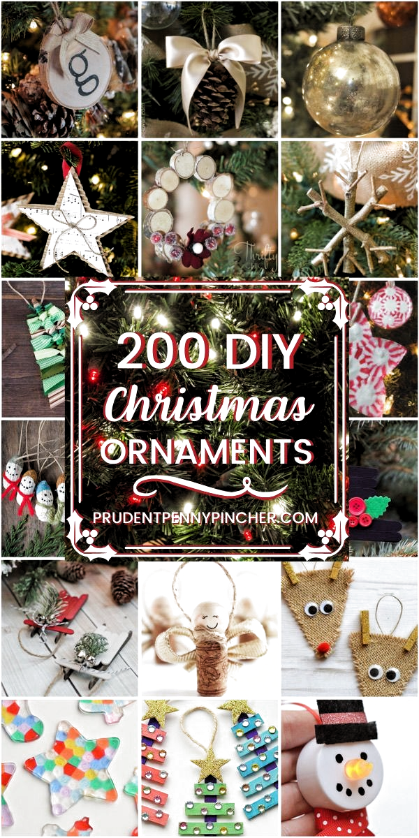 200 DIY Christmas Ornaments - Try some of these unique DIY Christmas ornaments for your Christmas tree. These ideas are great as Christmas crafts to make with your kids. From rustic Christmas ornaments to modern ones, theres something for every decor style. #Christmas #ChristmasDecor #ChristmasDecorations #DIY #ChristmasOrnaments #ChristmasCrafts #DIY