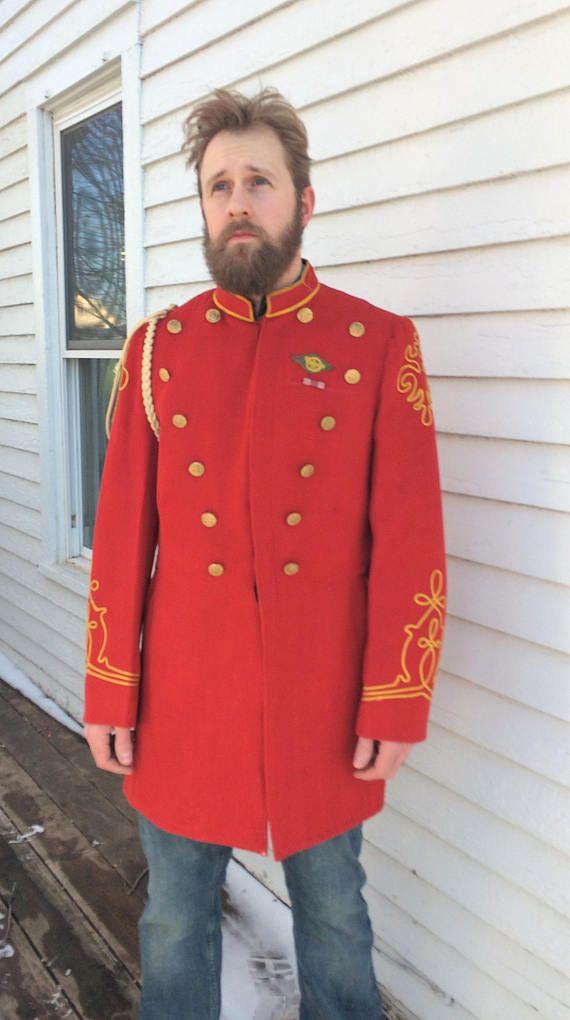 Vintage Marching Band Uniform Jacket Red De Moulin Bros ...