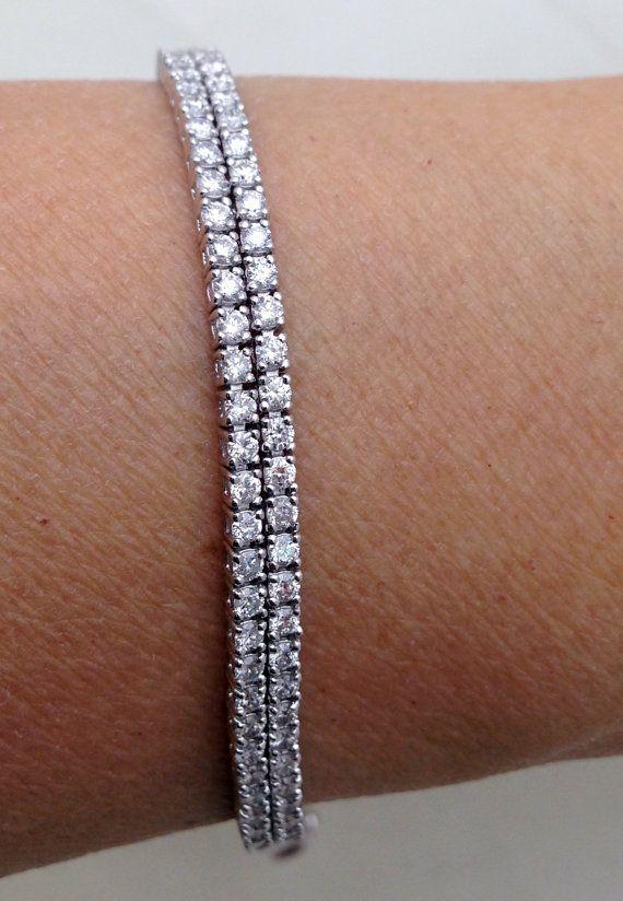 3799 Double Strand Diamond Tennis Bracelet 4 Carats 14k White Gold