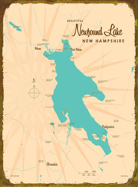 newfound lake nh map Newfound Lake Nh Map Wood Or Metal Sign Map Art Metal Signs newfound lake nh map