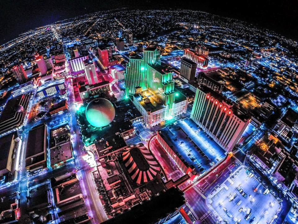Aerial view of reno at night favorite places pinterest nevada we offer you great deals for the most thrilling and exhilarating reno casino shows you can entertain yourself with some great shows in the eldorado hotel solutioingenieria