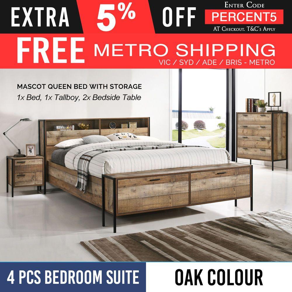 Queen Oak Storage Bedroom Suite Particle Board Aesthetic Metal