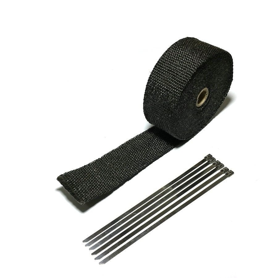5M Black High Heat Insulation Wrap Tape Car Motorcycle Bike Exhaust Pipe Cloth