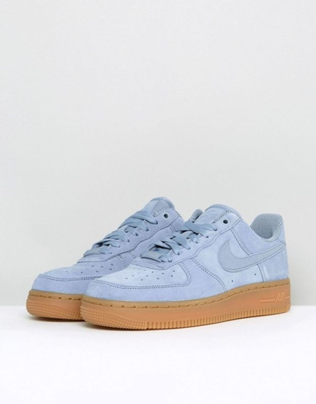 check out 8180e e3477 Nike Air Force 1 07 Trainers In Glacier Blue Suede With Gum Sole at  asos.com