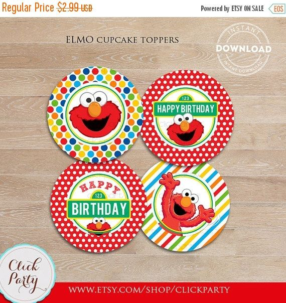 Elmo Cupcake Toppers Sesame Street Printable cake toppers 1st