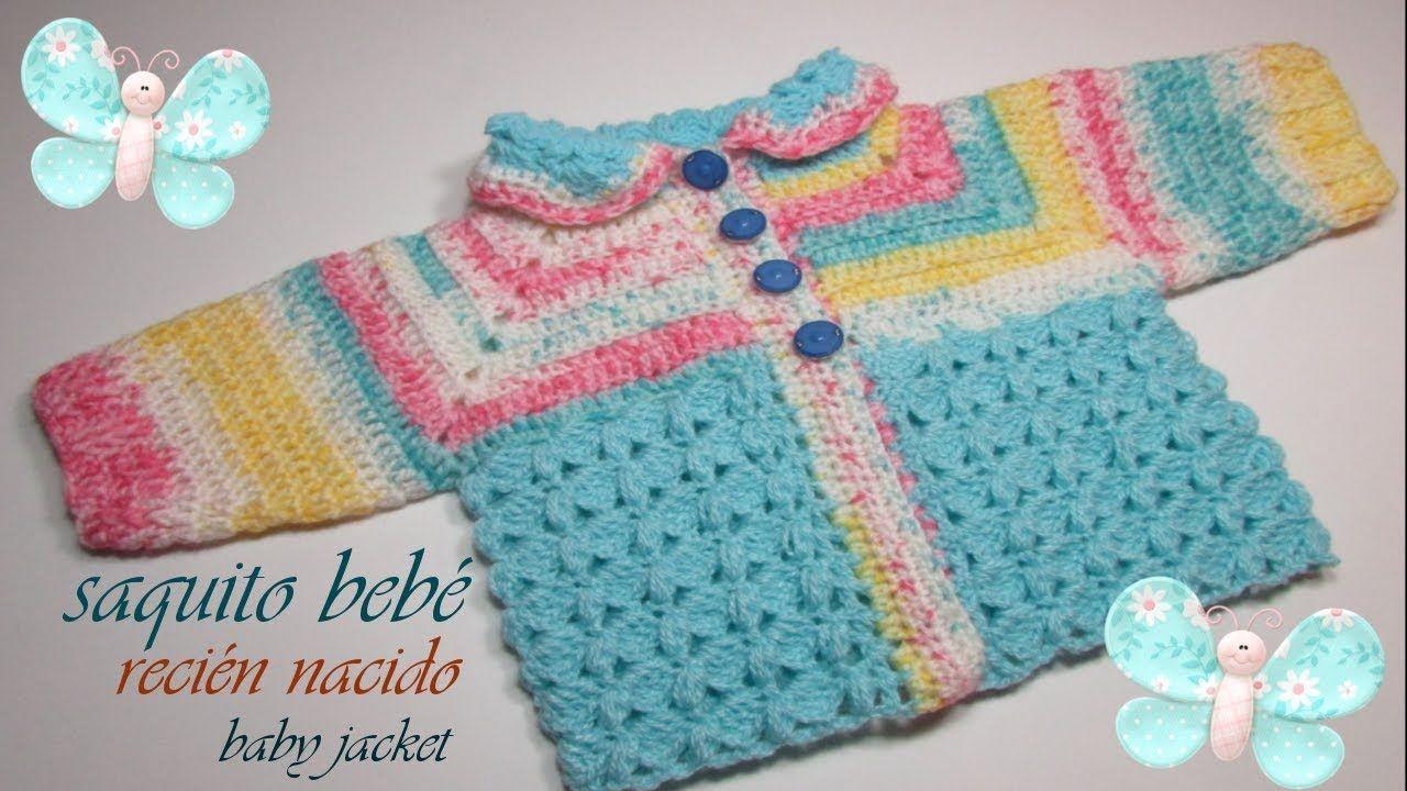 Saquito para bebé a crochet recién nacido paso a paso - Mi Rincón ...