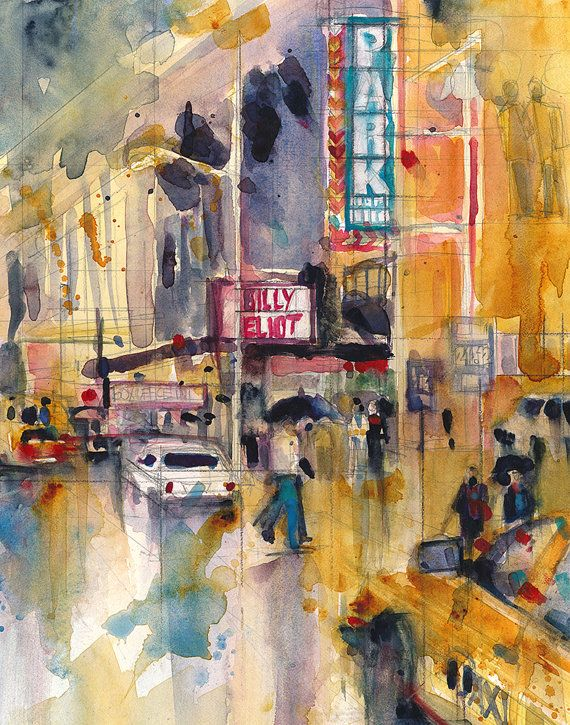 New York Theatre District Watercolor Broadway Billy By Dfrdesign